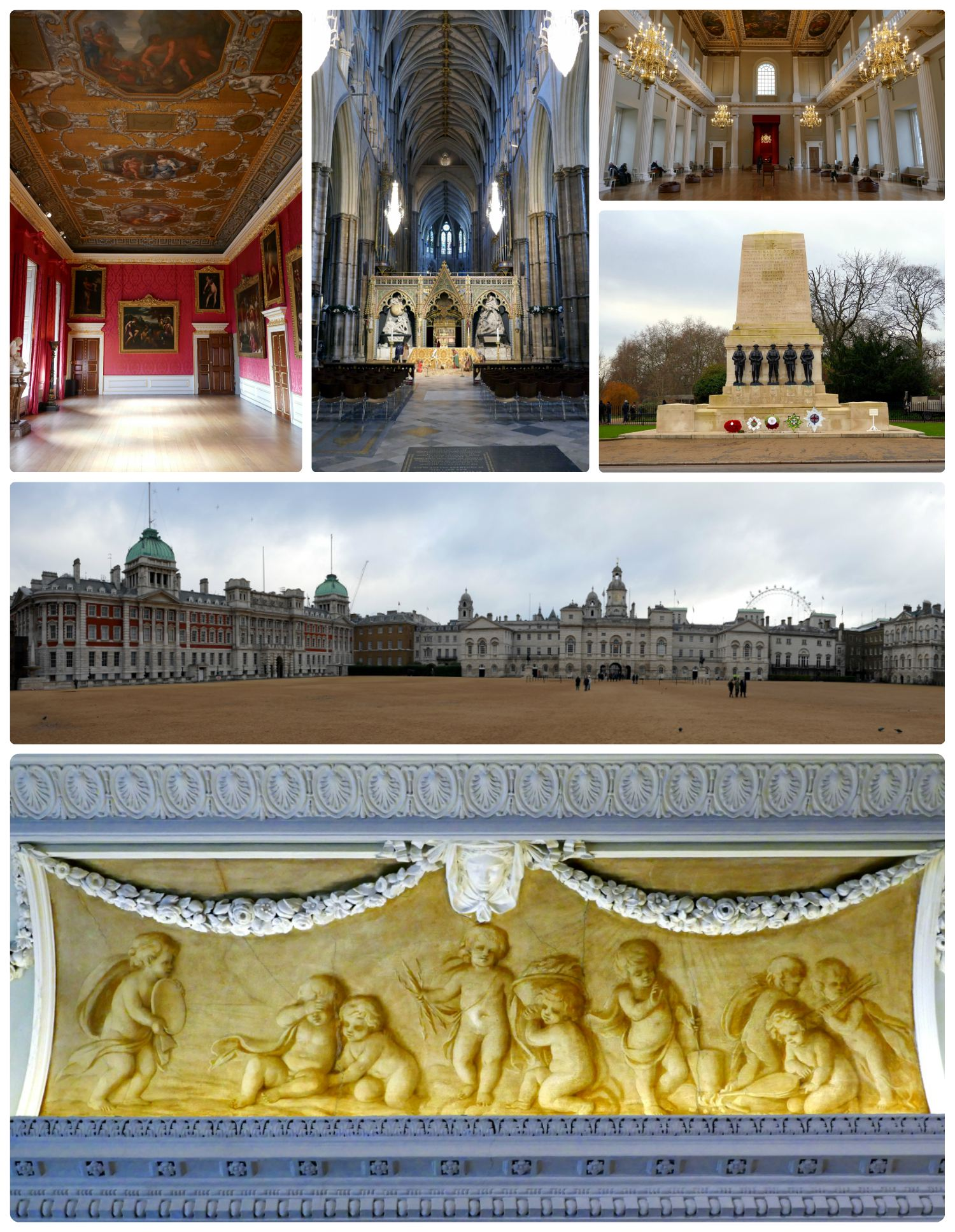 Sightseeing in London, United Kingdom. Top, left to right: Kensington Palace, Westminster Abbey, Banqueting House, War Memorial, Horse Guards Parade, Painting in one of the many museums