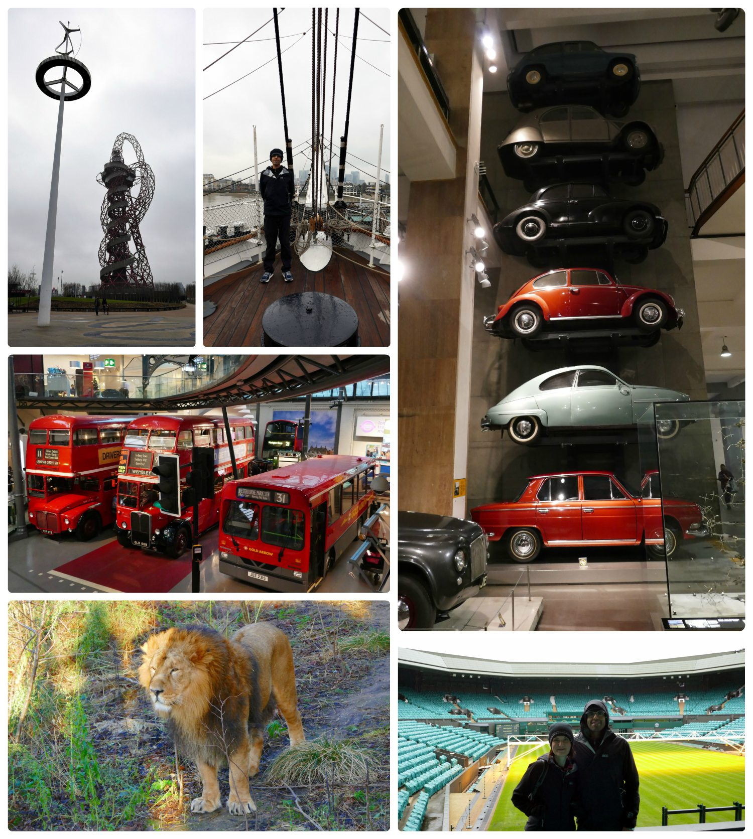 Sightseeing in London. Top, left to right: ArcelorMittal Orbit - London Olympic Park, Cutty Sark, car display at London Science Museum, Transport Museum, Lion at London Zoo, Wimbledon.