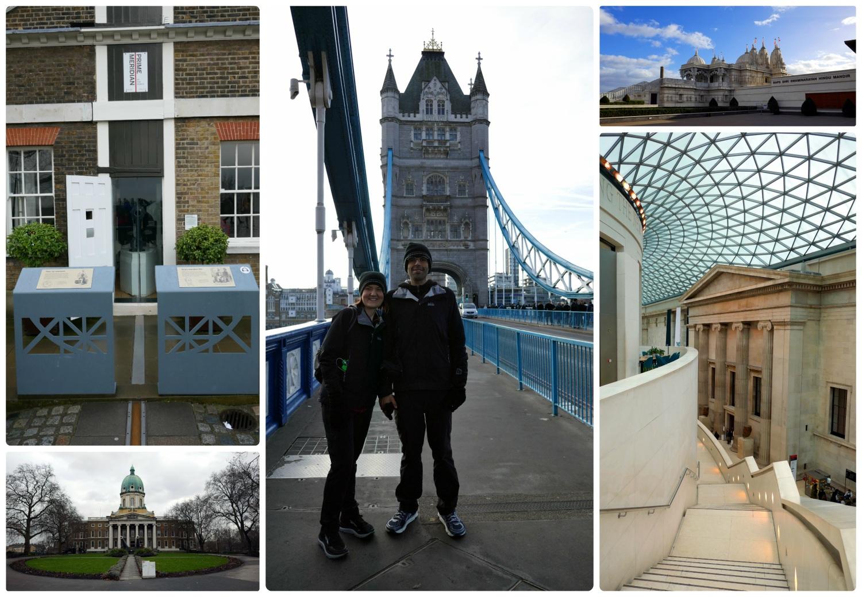 Sightseeing in London, United Kingdom. Top, left to right: Prime Meridian, Tower Bridge, BAPS Shri Swaminarayan Mandir, Imperial War Museum, British Museum