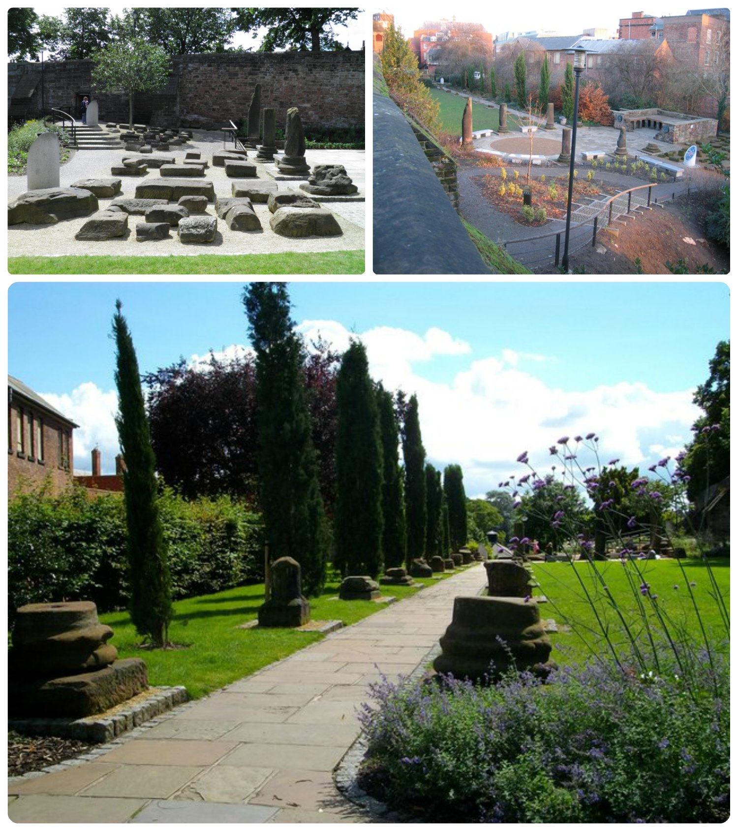 The Roman Gardens in Chester, United Kingdom showcase the ancient Roman ruins found in the city.