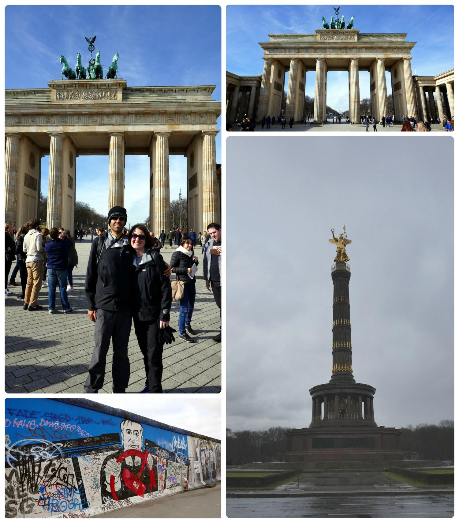 Berlin, Germany. Clockwise (from the top left): Us at Brandenburg Gate, Brandenburg Gate, East Side Gallery, Berlin Victory Column.