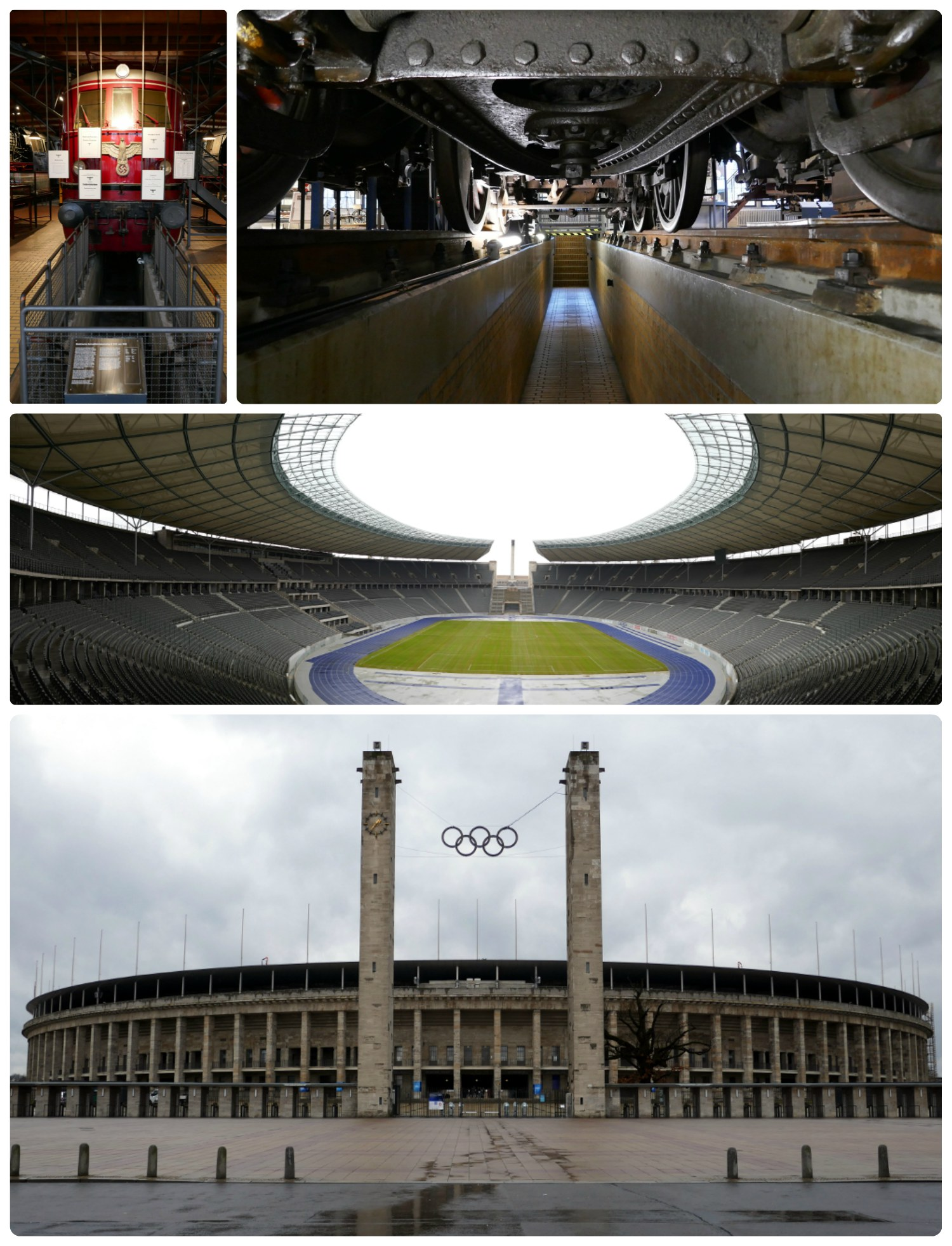 Berlin, Germany. Clockwise (from the top left): German Reich train at the German Museum of Technology, underneath a rail train at the German Museum of Technology, inside Olympiastadion, exterior of Olympiastadion where the 1936 Olympics where held.