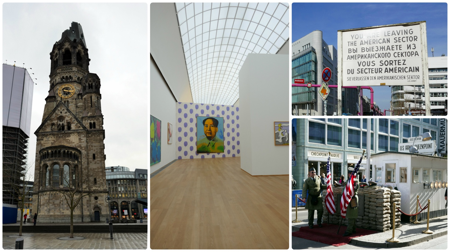 Berlin, Germany. Clockwise (from the top left): Kaiser Wilhelm Gedächtnis Kirche, exhibition at Hamburger Bahnhof, CheckPoint Charlie Sign, Check Point Charlie.