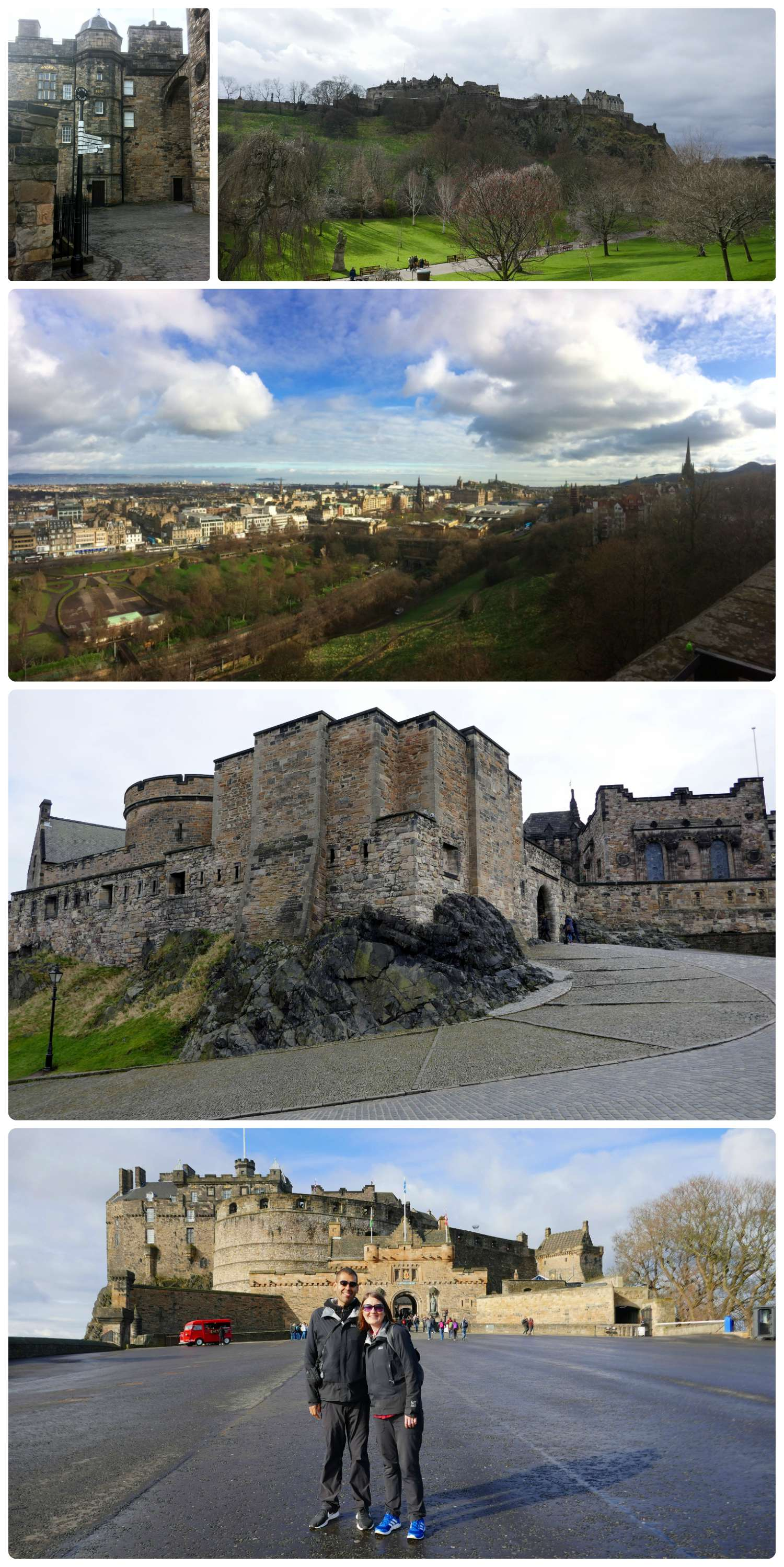 Edinburgh, Scotland, United Kingdom. Top to bottom, left to right: Directional sign at Edinburgh Castle, Princess Street Gardens with view of Edinburgh Castle, view of city from the top of the castle, inside the castle, us at Edinburgh Castle.