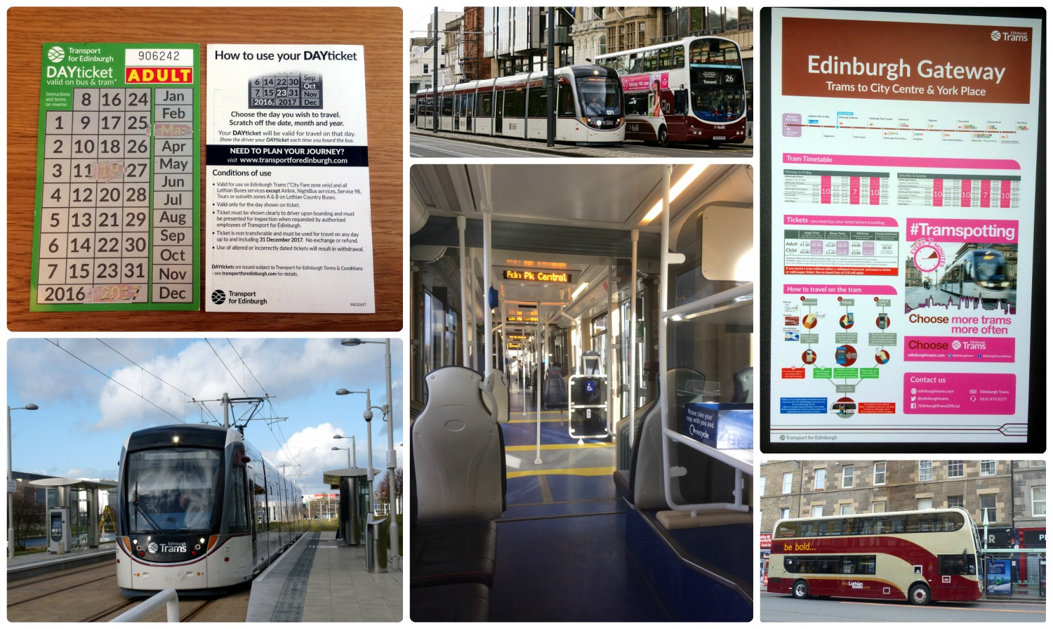 Top, left to right: Scratch day pass, Lothian tram and bus, tram timetable and route sign, tram station, onboard the tram, Lothian bus.