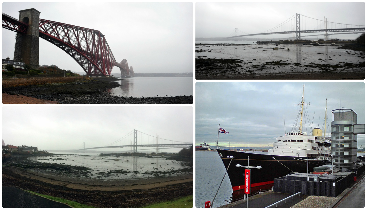 Clockwise: Forth Bridge rail bridge, old and new Forth Bridge, Royal Yacht of Britannia.