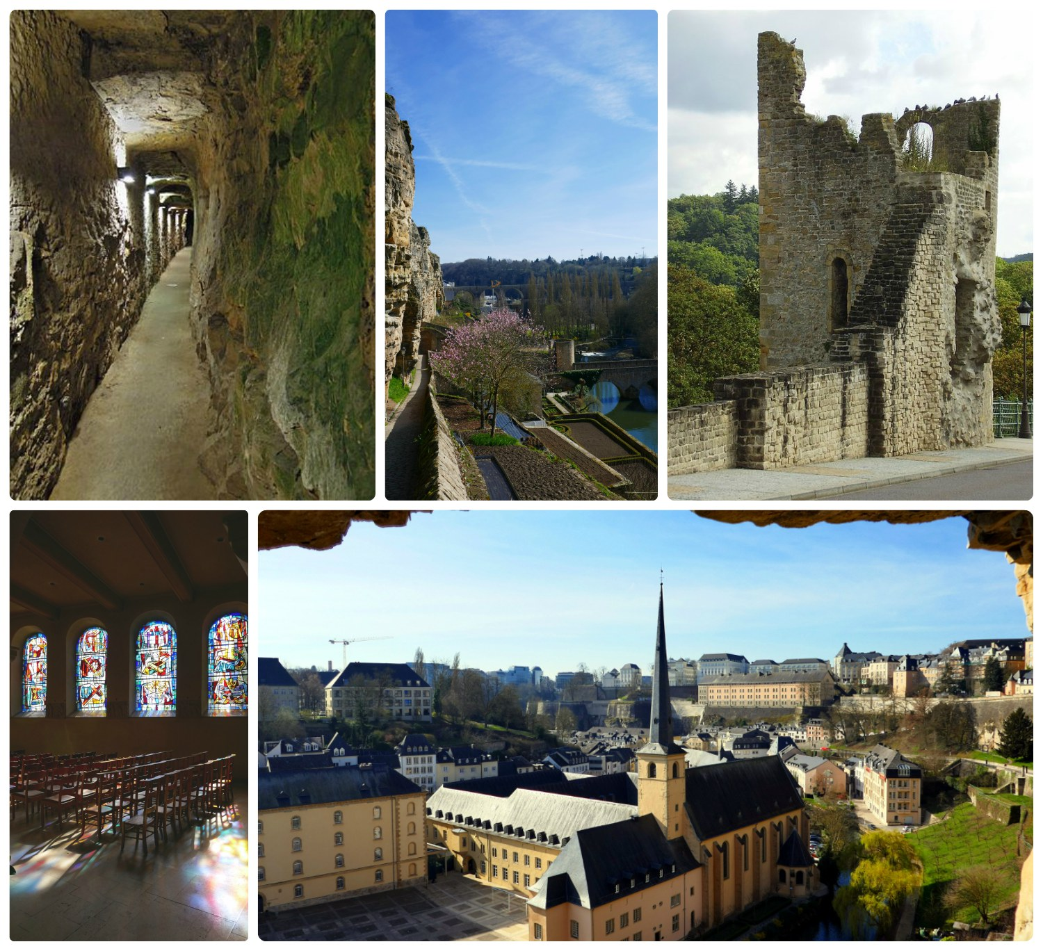 Luxembourg City, Luxembourg. Clockwise (from the top left): Inside Casemates du Bock, Casemates du Bock and view of the Alzette River, Dent Creuse, inside St. Michael's Church, view from Casemates du Bock.