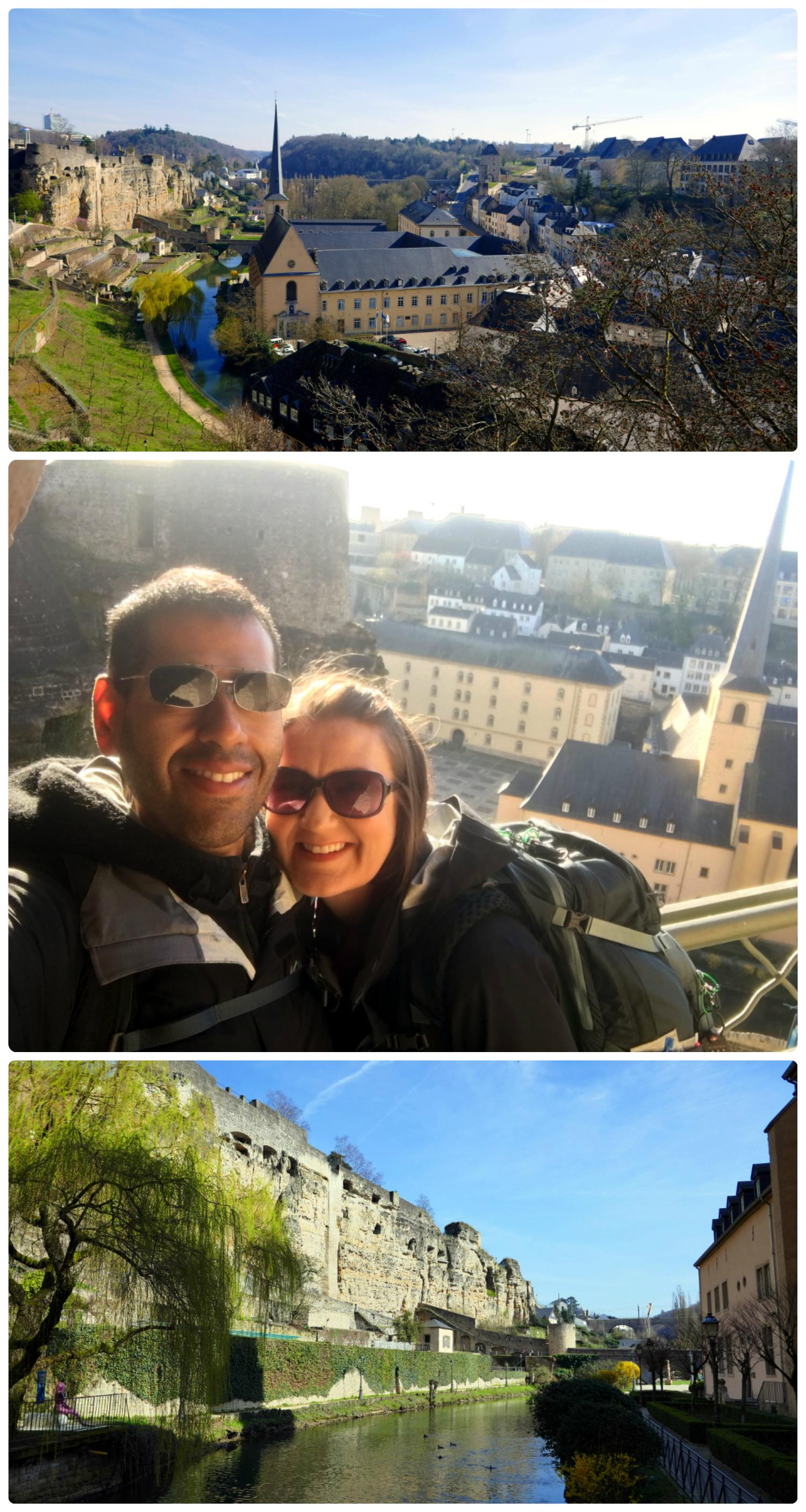 Luxembourg City, Luxembourg. Clockwise (from the top left): Top to bottom: View from 'Europe's most beautiful balcony', us walking the path along the city walls towards the Alzette River, view from the 'old city' - on the left of the Alzette River is the Melusina Mermaid sculpture and straight ahead is the Stierchen Bridge.