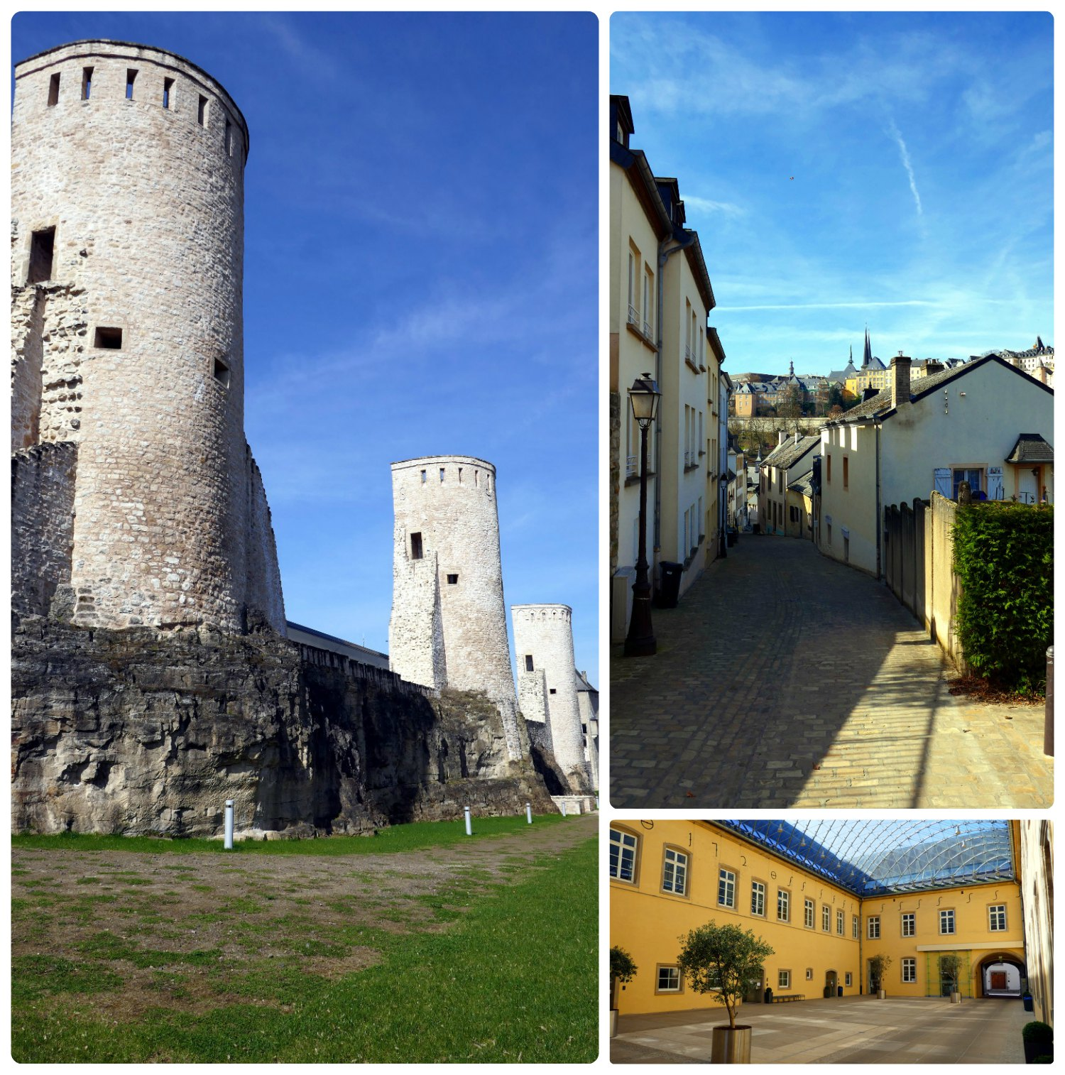 Luxembourg City, Luxembourg. Clockwise (from the top left): Ravelin Vauban Towers, streets leading to Second Gate of Trier and the Old Gate of Trier, inside the courtyard at Neumünster Abbey Cultural Exchange Center.