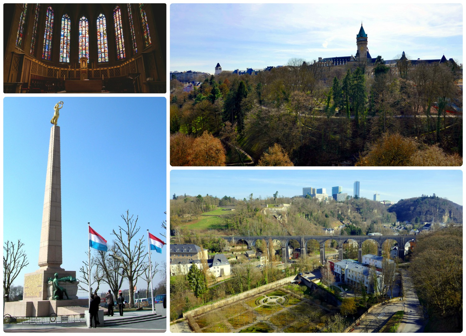 Luxembourg City, Luxembourg. Clockwise (from the top left):Inside Notre-Dame Cathedral, the view from Place de la Constitution, Gëlle Fra, Gëlle Fra and valley below.