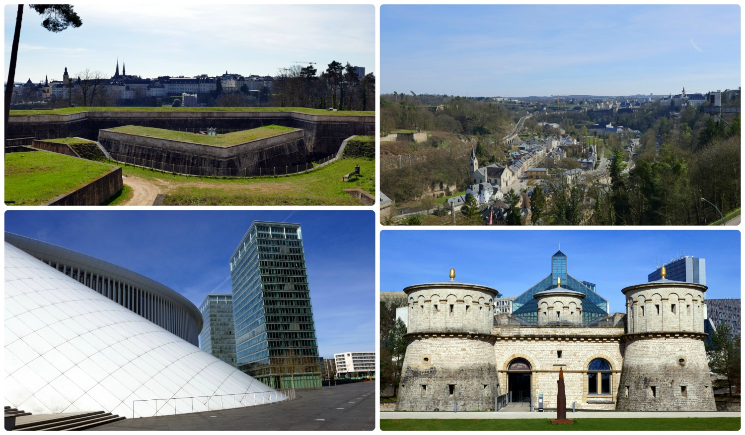Luxembourg City, Luxembourg. Clockwise (from the top left): Foundation walls at Fort Thüngen, a view of the city on our walk to MUDAM, Orchestre Philharmonie Luxembourg, Fort Thüngen.