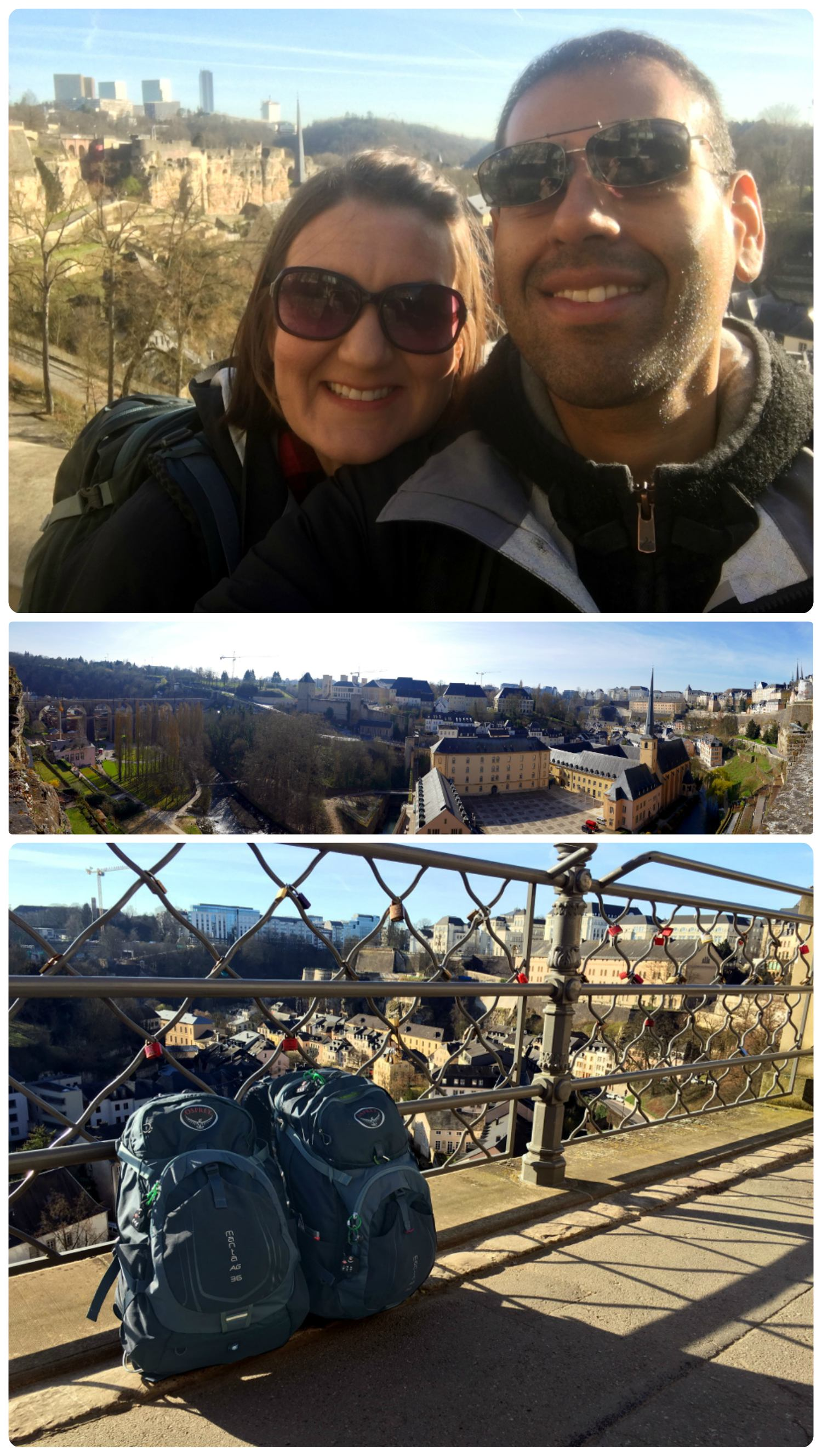 Top to bottom: Us in Luxembourg looking over city walls, a panoramic view of Luxembourg City, our  backpacks  enjoying the view.