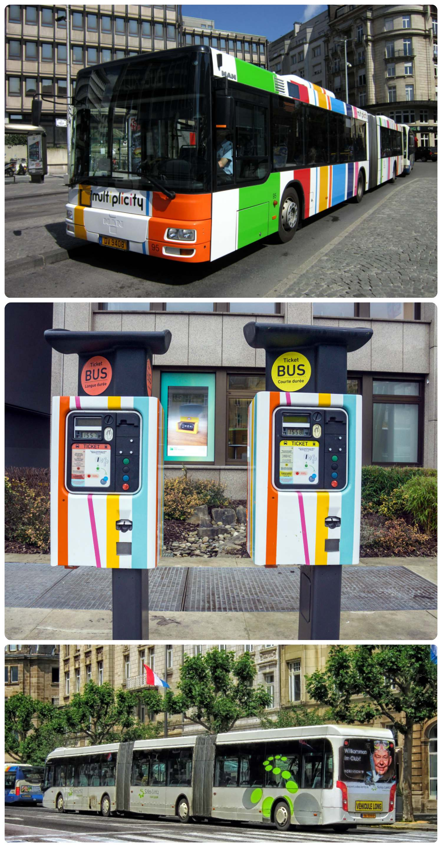 Top to bottom: Luxembourg buses are commonly wrapped in advertisements, ticket machine for bus tickets, a triple segment bus in Luxembourg.