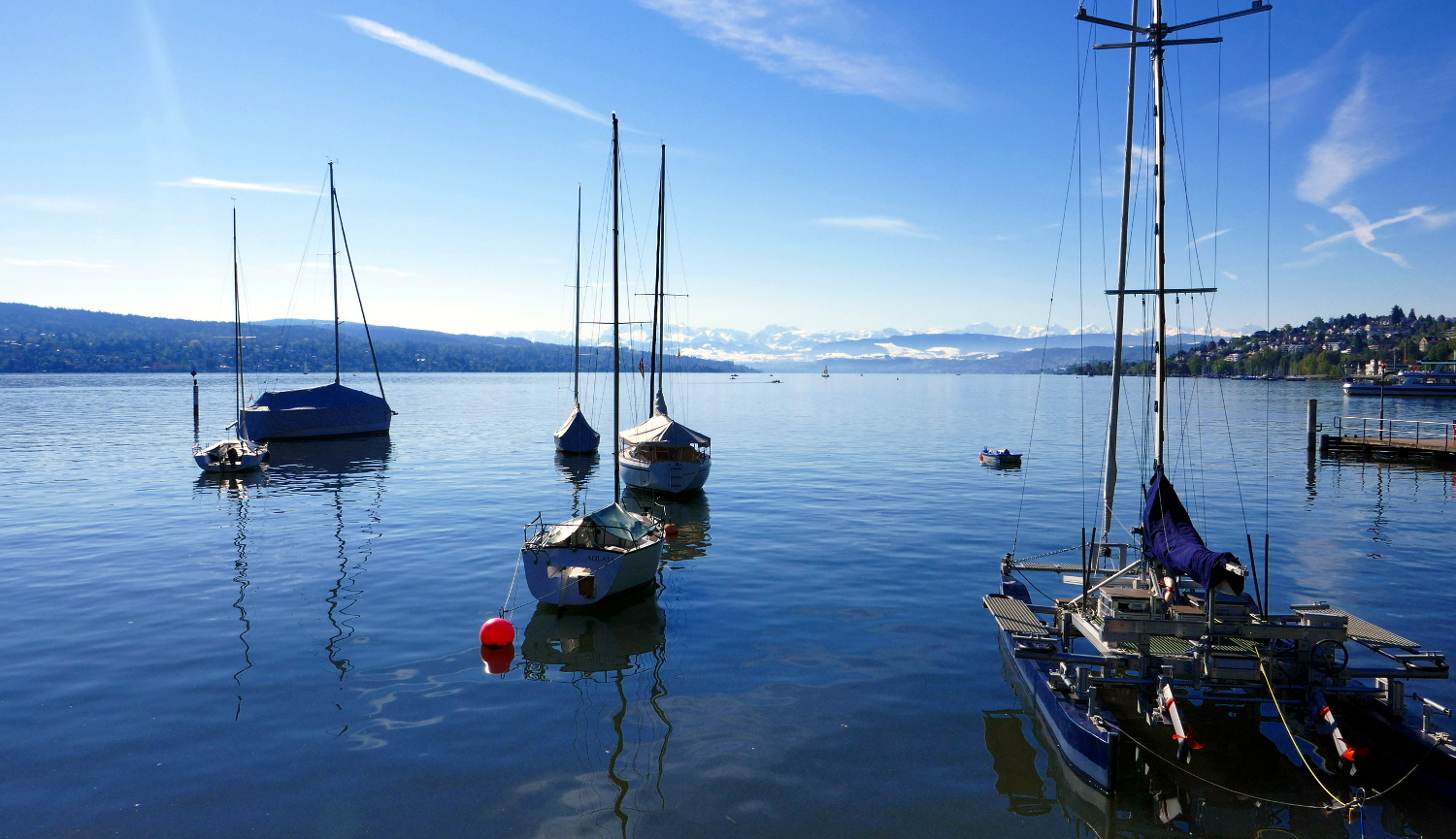 Sailboats and Alps, Lake Zurich, Zurich, Switzerland