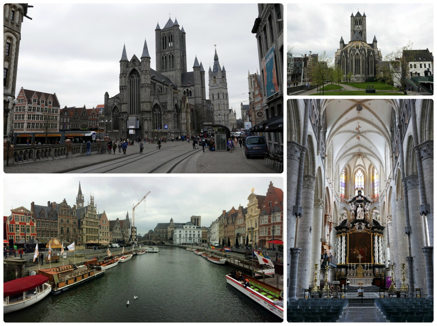 Clockwise: View of St. Nicholas' Church from St. Michael's Bridge, looking at St. Nicholas' Church from the park, interior of St. Nicholas' Church, view of Leie River and Graslei historic houses.