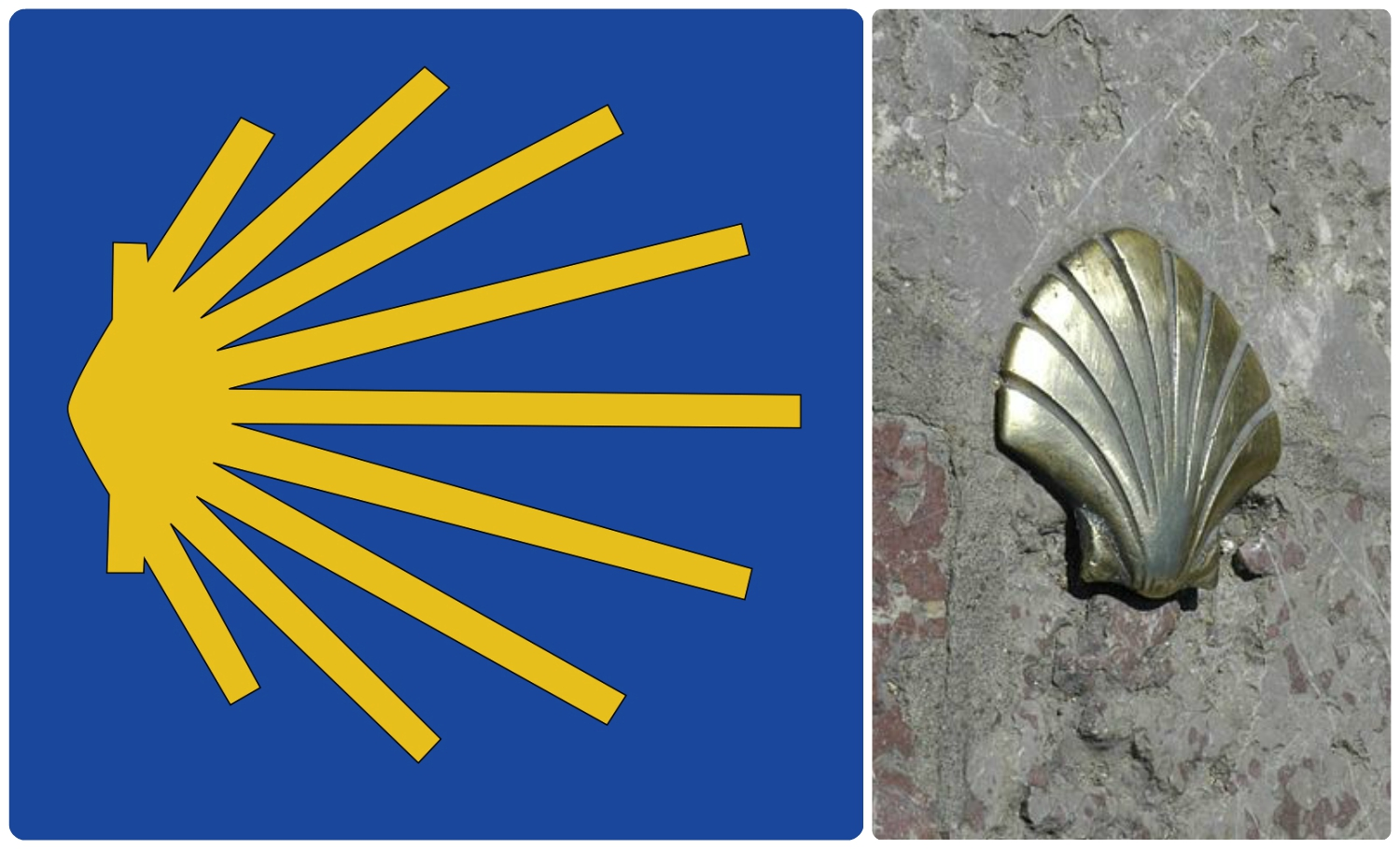 These shells are markers for the Camino de Santiago. St. James' Church in Antwerp is a stop on the route.