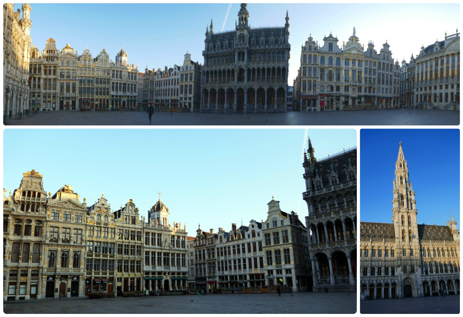Views of the La Grand-Palace in Brussels, Belgium. We arrived early Sunday morning to find the square calm, with only a couple of tourists in sight.