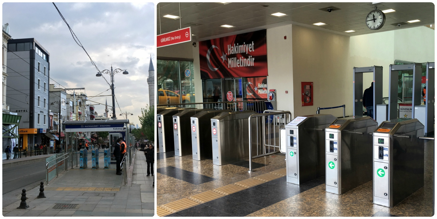 Left:  Turnstiles at a tram station.  Right:  Turnstiles at a metro station. All stations had security present and most had metal detectors to pass through.