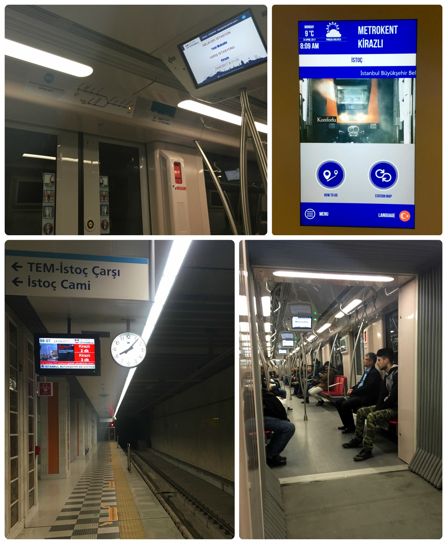Clockwise (top): Digital sign with stop information on the metro, digital touch screen in the metro station with maps and directions, screen with next train arrival time, screens on-board the metro.