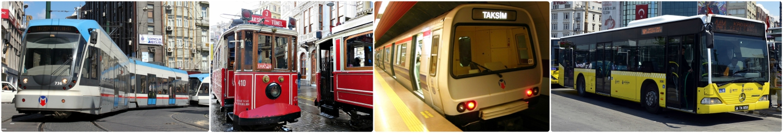 Left to right: Tram, classic red Heritage Tram/Streetcar (Nostaljik Tramvay), metro, and bus in Istanbul, Turkey.