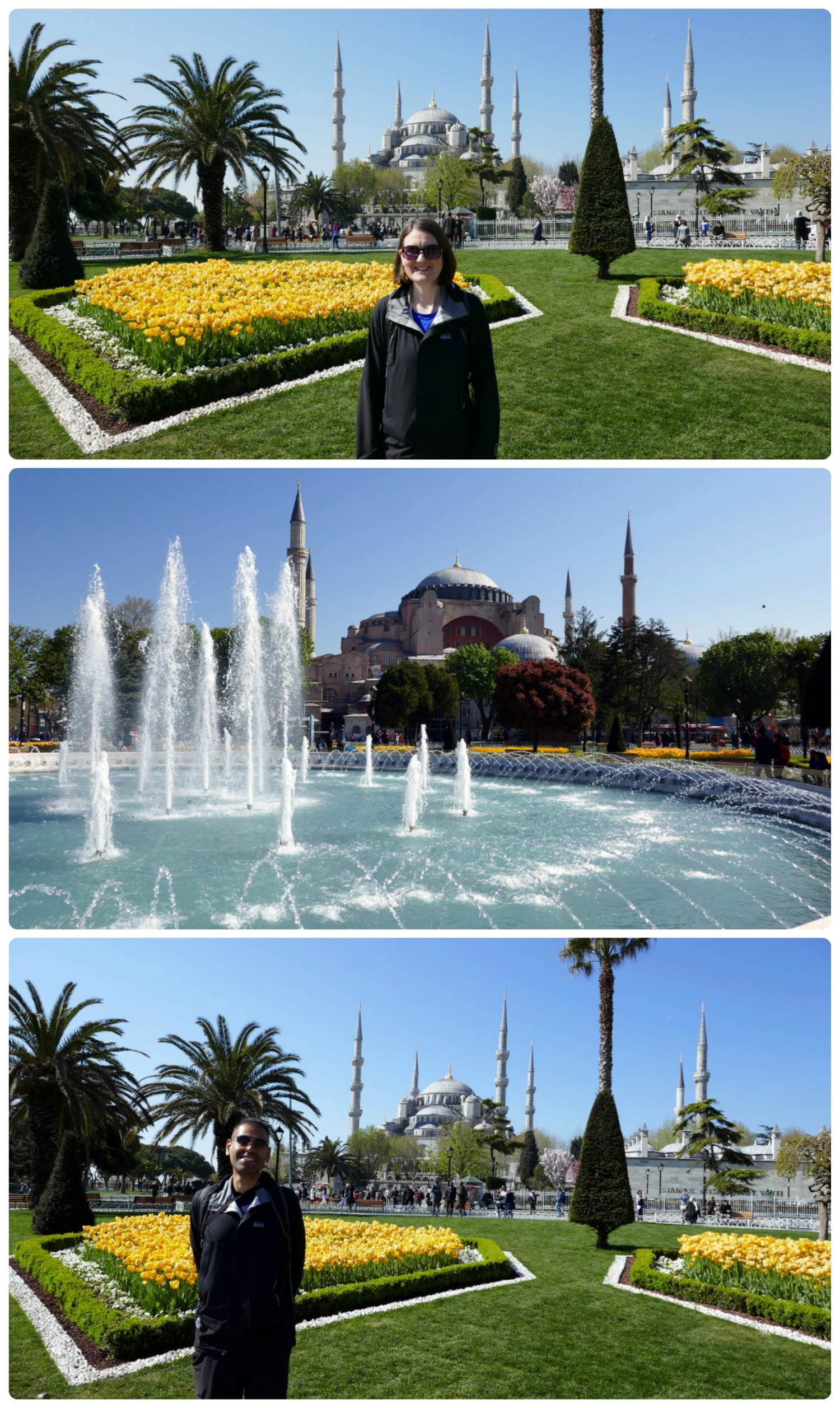 All images are taken in Sultanahmet Sqaure. Top to bottom: Shannon with the Blue Mosque in the background, fountain and the Hagia Sophia in the background, Sergio with the Blue Mosque in the background.