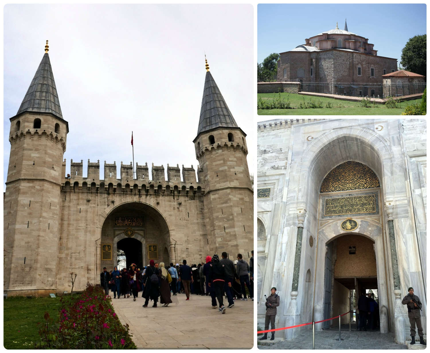 Clockwise: The Imperial Gate to enter Topkapi Palace, the Little Hagia Sophia, the gate and security checkpoint to enter the Topkapi Palace grounds.
