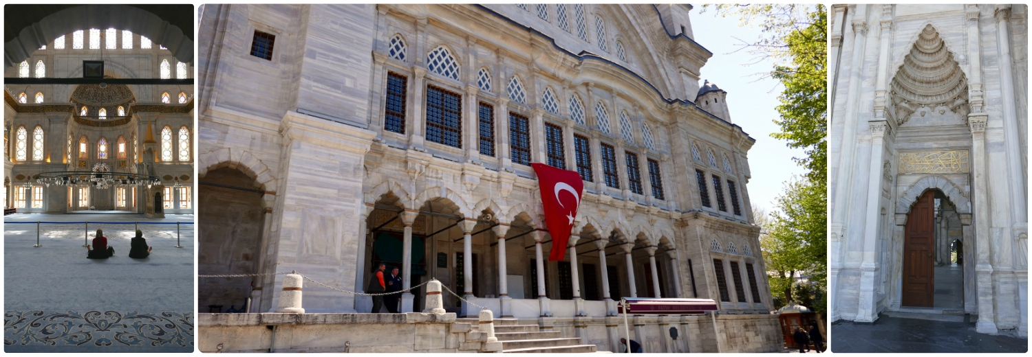 All images are of the Nuruosmaniye Mosque. Left to Right: From the entrance looking into the mosque, the exterior of the mosque with the Turkish flag, the impressive marble entryway to the courtyard.