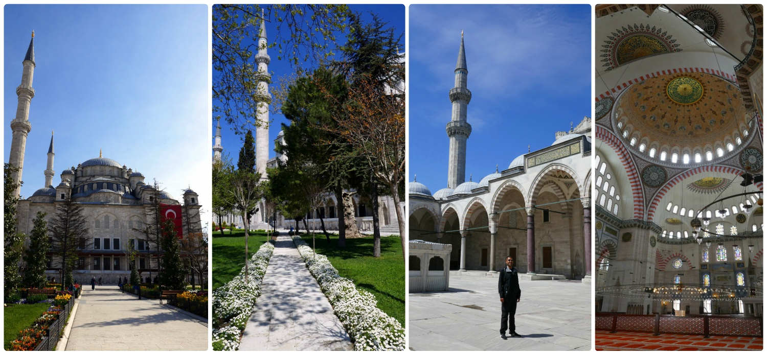 All images are of the Süleymaniye Mosque. Left to right: Front of the mosque from the gardens, the pathway leading to the mosque, Sergio in the courtyard, the interior of the mosque.