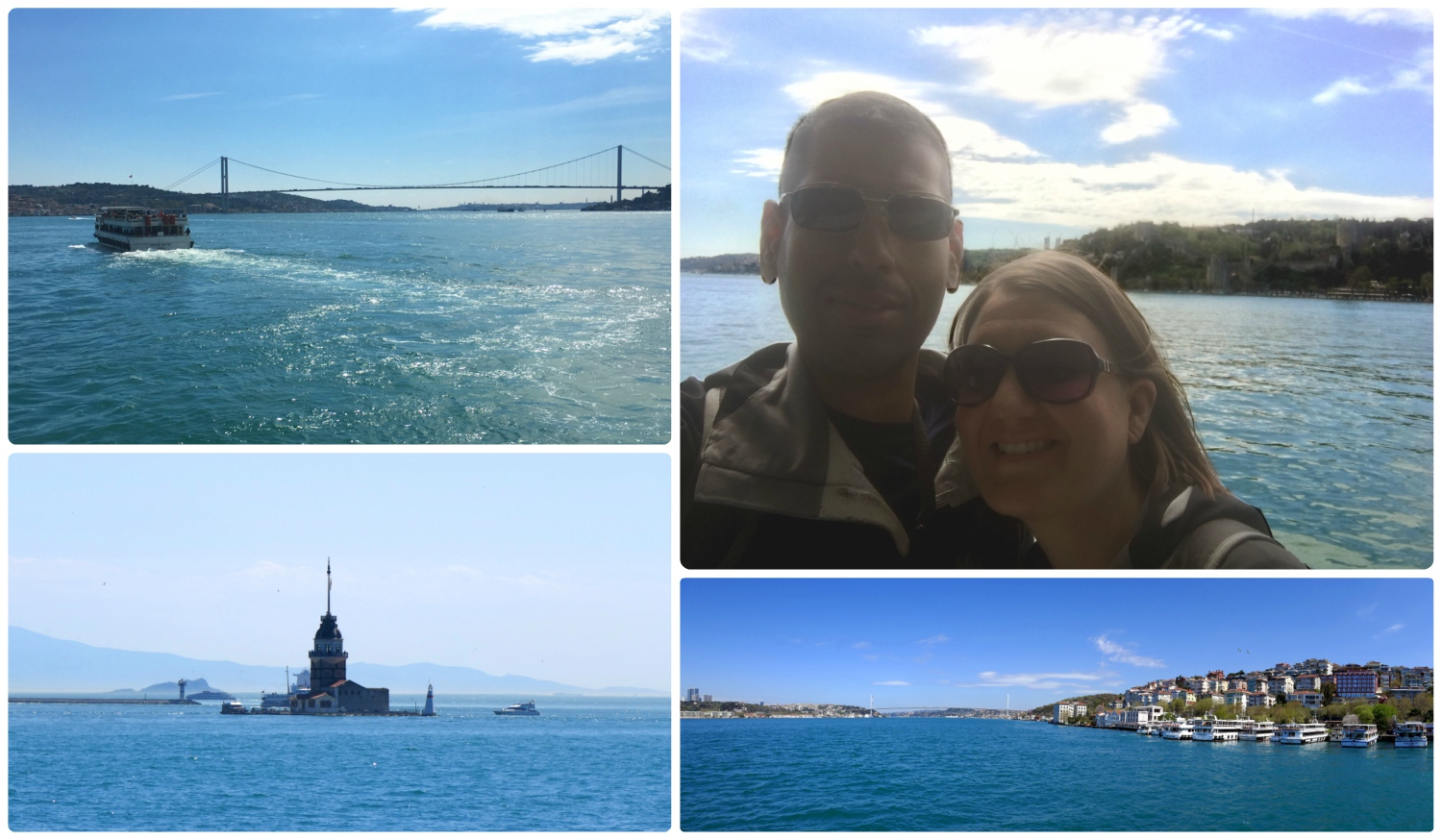 Clockwise (from the top): Cruise boat on the Bosphorus, us on the cruise, view of the Bosphorus, Maiden's Tower.