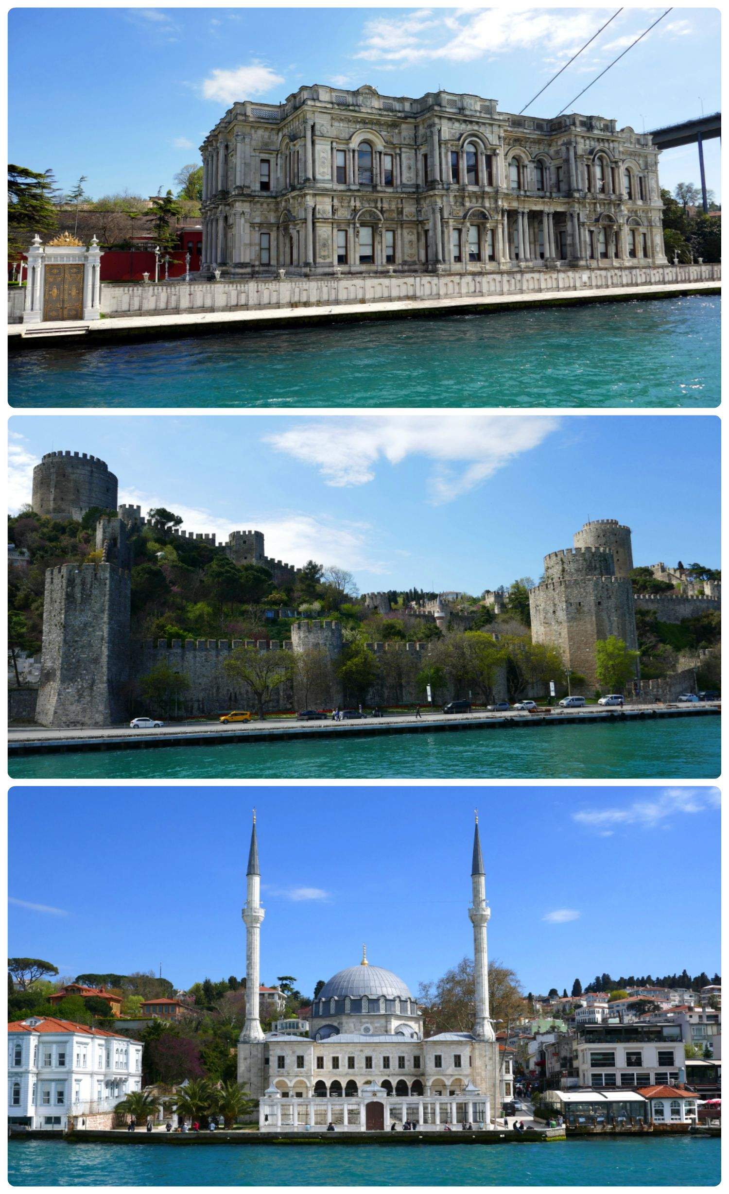 Top to bottom: Beylerbeyi Palace, Rumeli Fortress, Beylerbeyi Mosque.