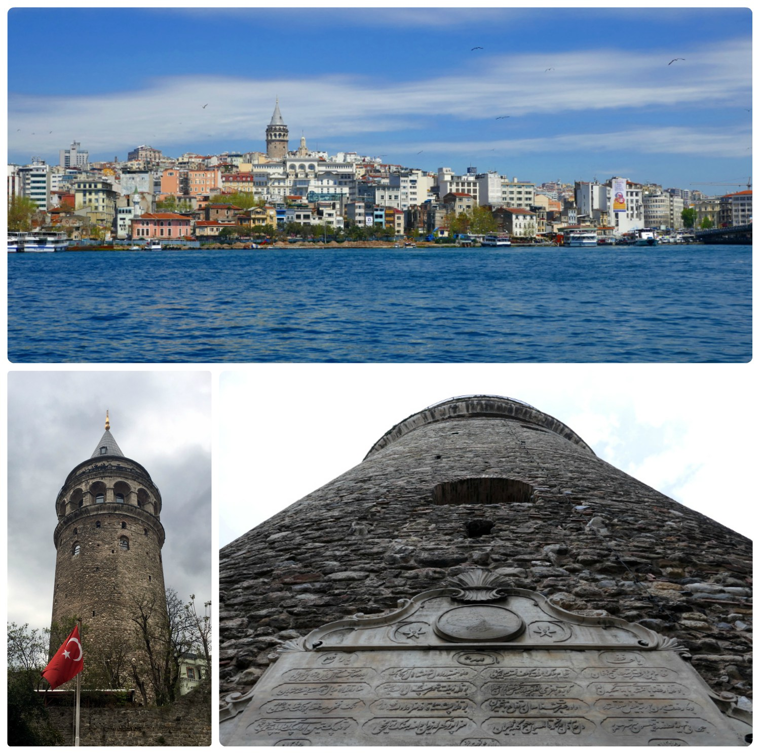 Clockwise (from the top): View of Galata Tower from across the Golden Horn, Galata Tower with the Turkish Flag, view of Galata Twoer up close.