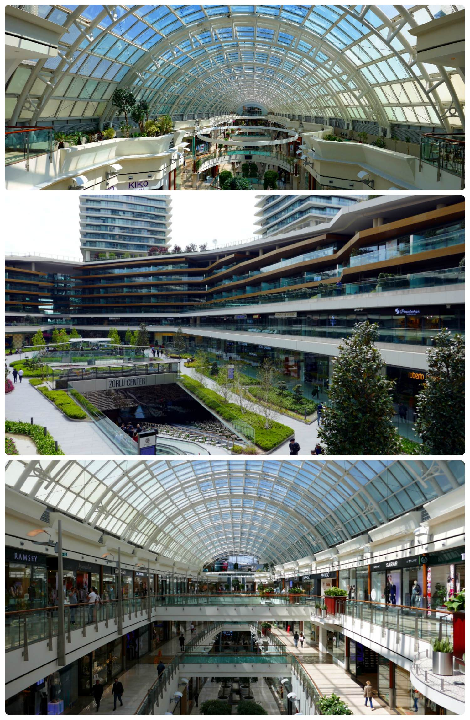 Top to bottom: Istinye Park Mall, Zorlu, Istinye Park Mall from the opposite end.