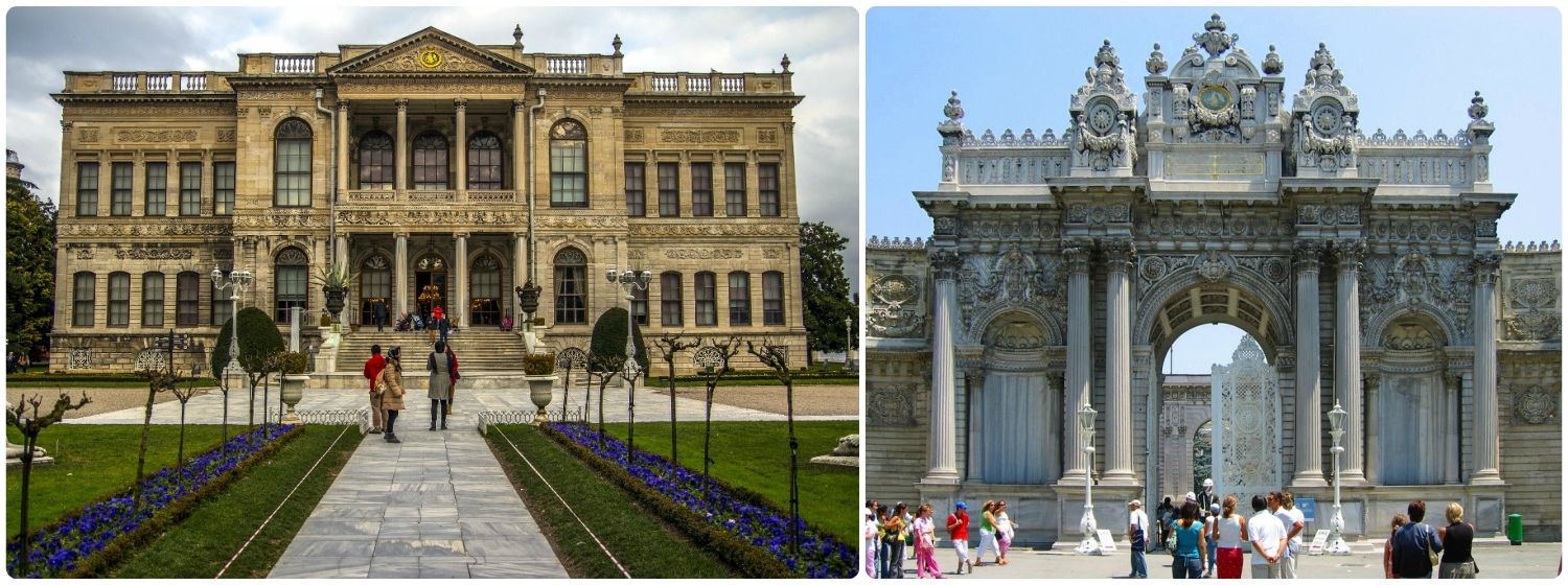 Left to right: Dolmabahçe Palace, the Imperial Gate entrance to Dolmabahçe Palace.