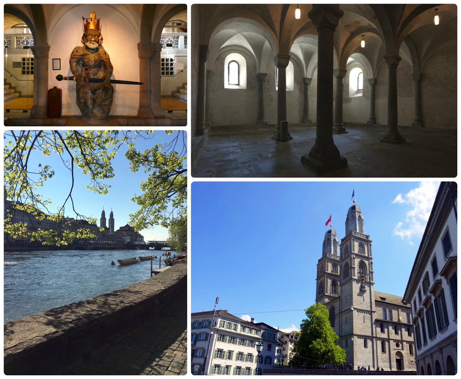 Clockwise (from the top): The sculpture of Charlemagne in the crypt, the archways in the crypt, the exterior of Great Minster (Grossmünster), the towers of Great Minster (Grossmünster) can be seen from across the city.