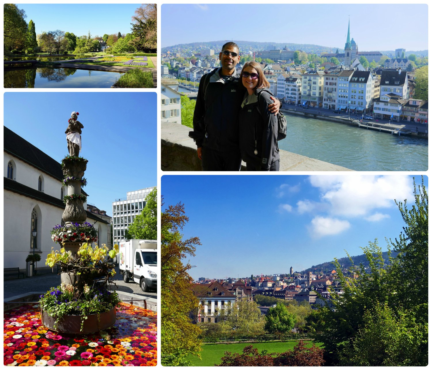 Clockwise (from the top): Belvoirpark Park is one of Zurich's oldest landscaped parks, us at Lindenhof park, another view point from Lindenhof - a popular park for views of the city and the Limmat River, a fountain on Münzplatz filled with flowers from the florist shop nearby.