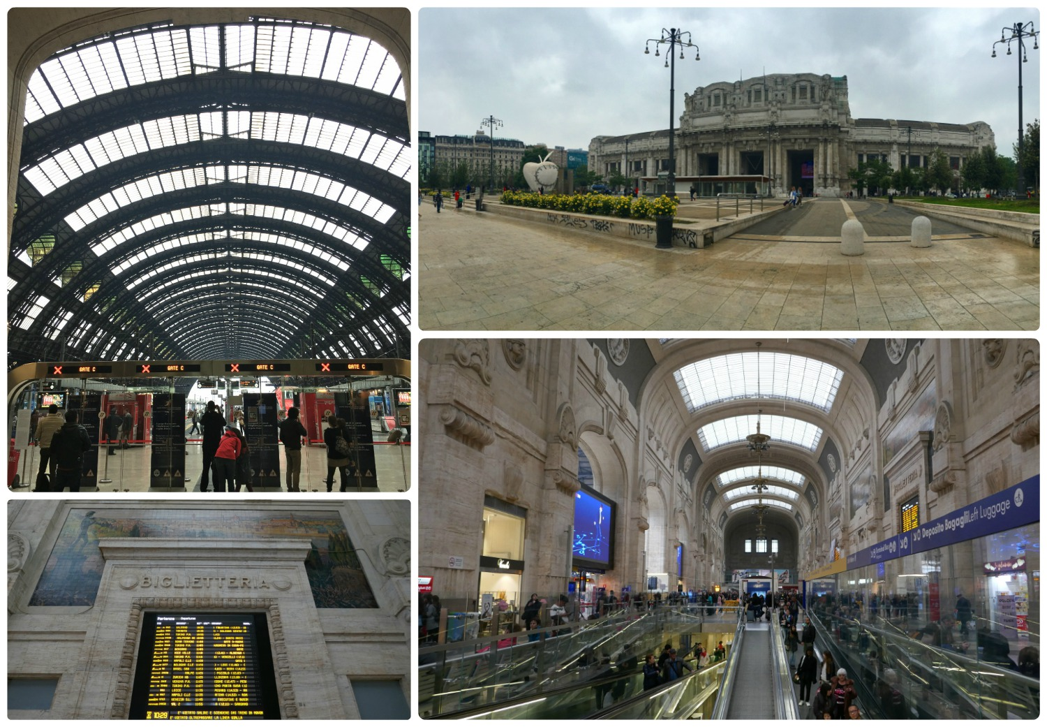 All images are of Milano Centrale (Milan train station). Clockwise (from the top): Entrance to the platforms within the station, the front exterior of the train station, the interior of the busy train station, the digital board of trains-times-platforms.