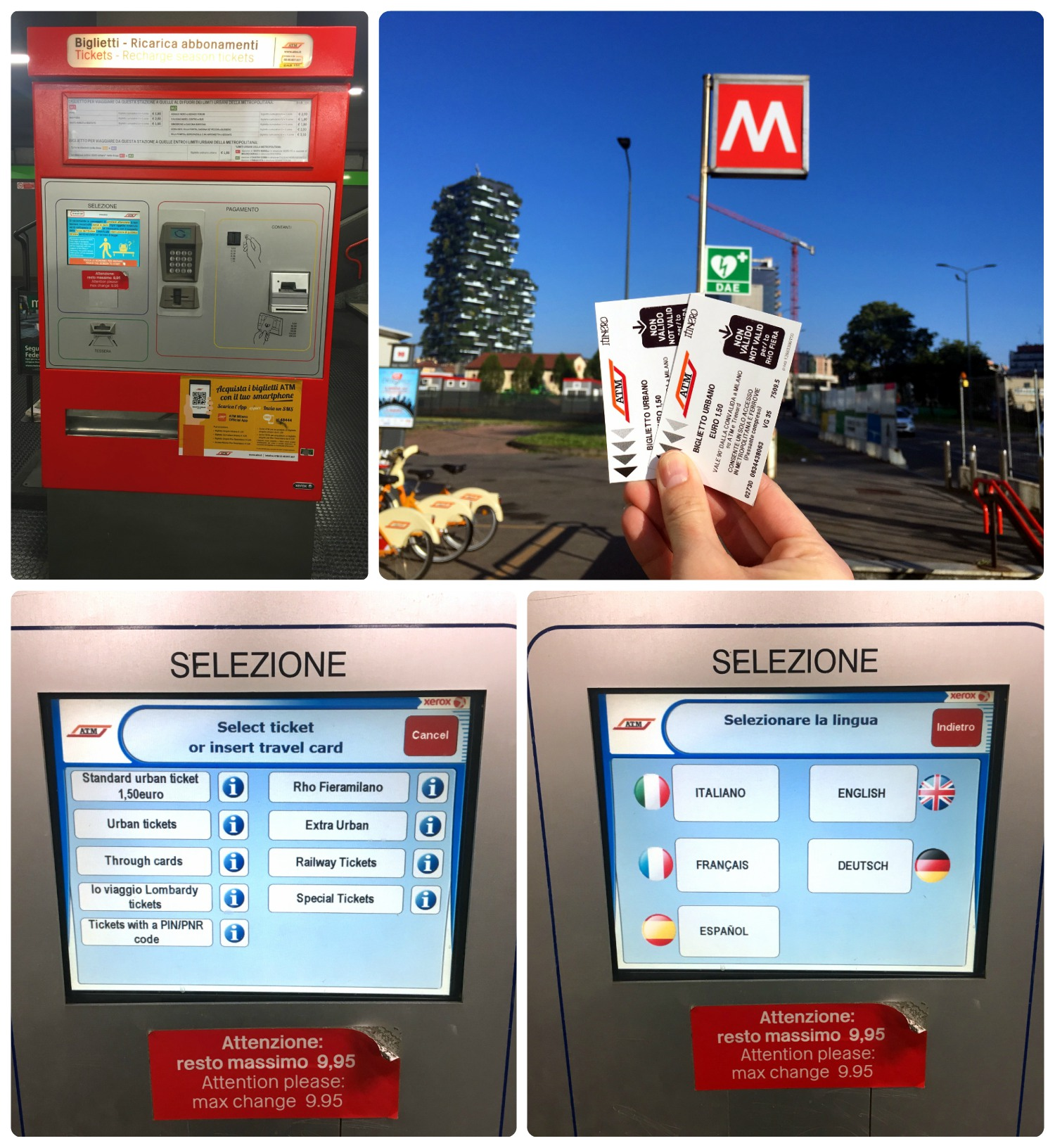 Clockwise (from the top): a ticket machine at a metro station, our public transportation tickets at a metro station, the screen on the ticket machine to choose your language, the screen to choose the type of ticket you want to purchase.