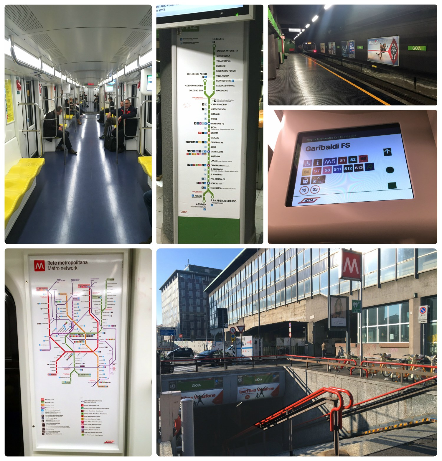 Clockwise (from the top): On-board a metro train, a metro sign with the M2 (green) line stops, inside a metro station, a digital screen on the metro train with stop information, the outside of a metro station, a network map on-board the metro train.