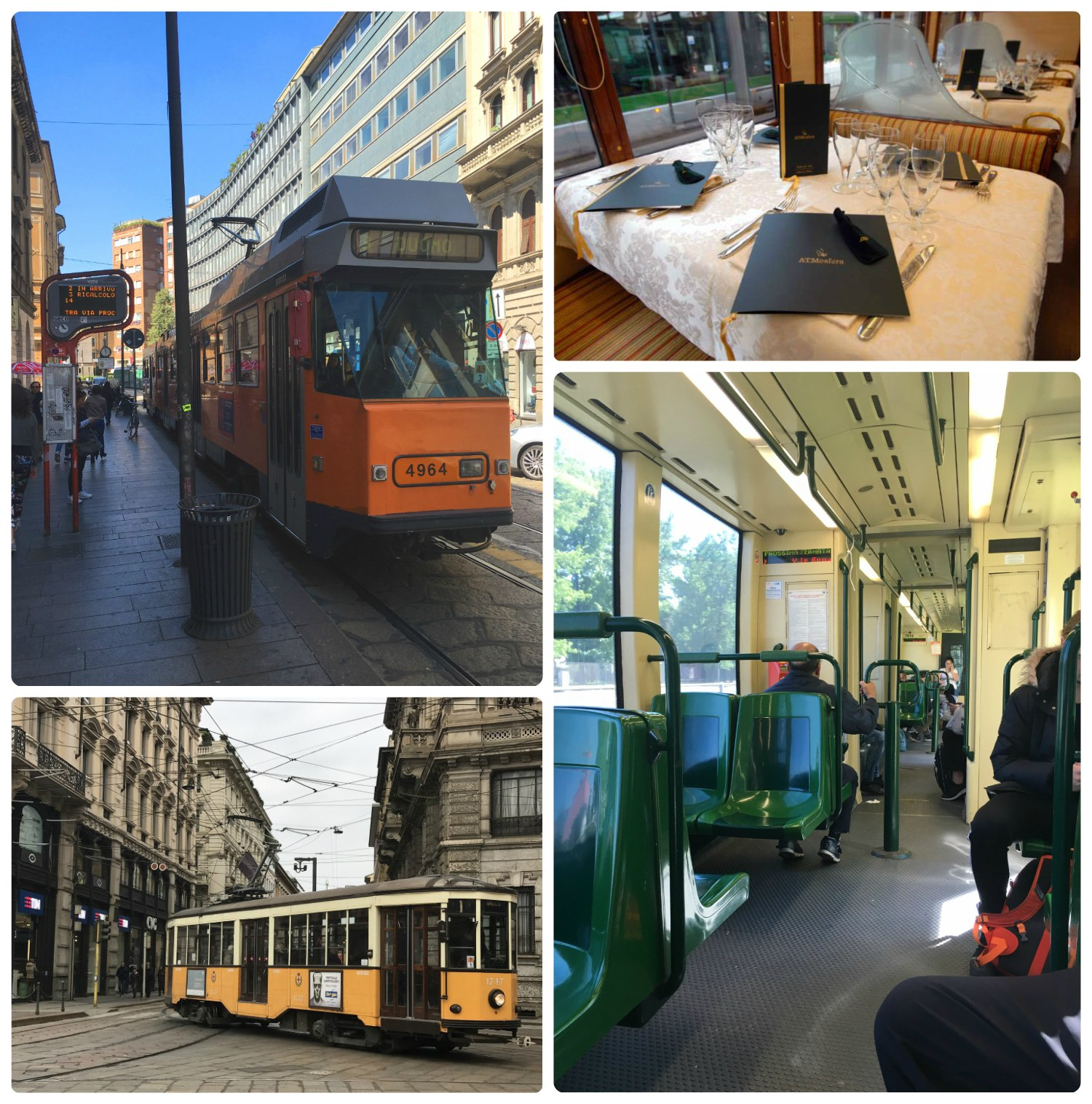 Clockwise (from the top): A Milan tram station and tram, a table on the  ATMosphere , on board a tram, a vintage tram still in use.