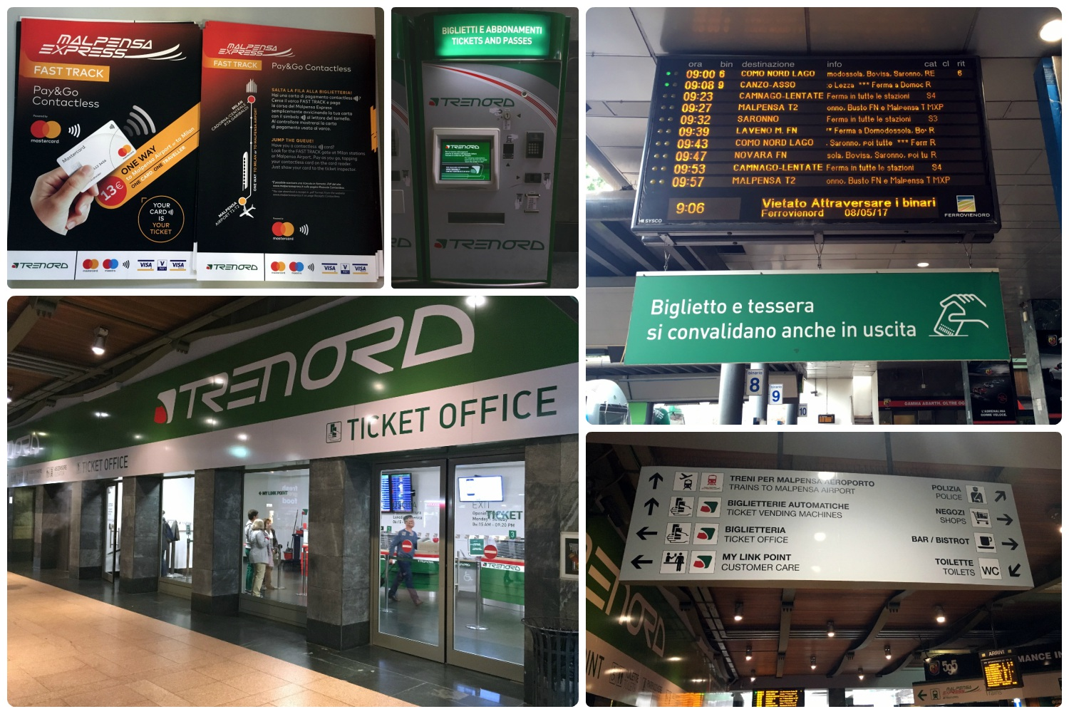 All images are of the station for the Malpensa Express train. Clockwise (from the top): The information flyer for the Malpensa Express, the ticket machine to purchase tickets to the airport, the digital signboard with train and platform information, the signboard as seen when entering the station, the front of the ticket office where you can purchase tickets directly from an agent.
