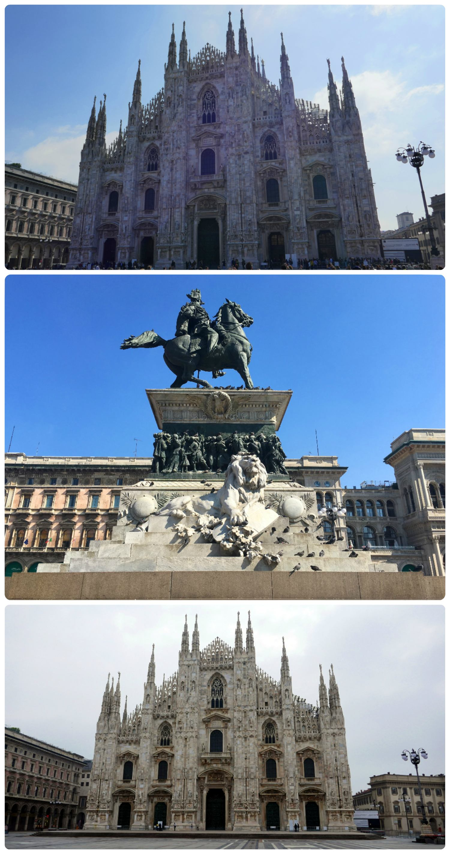 Top to bottom: Our first day at the Duomo when it was sunny but crowded, the Monumento Equestre a Vittorio Emanuele II monument in Piazza del Duomo, our Sunday morning at the Duomo was cloudy but with minimal tourists.