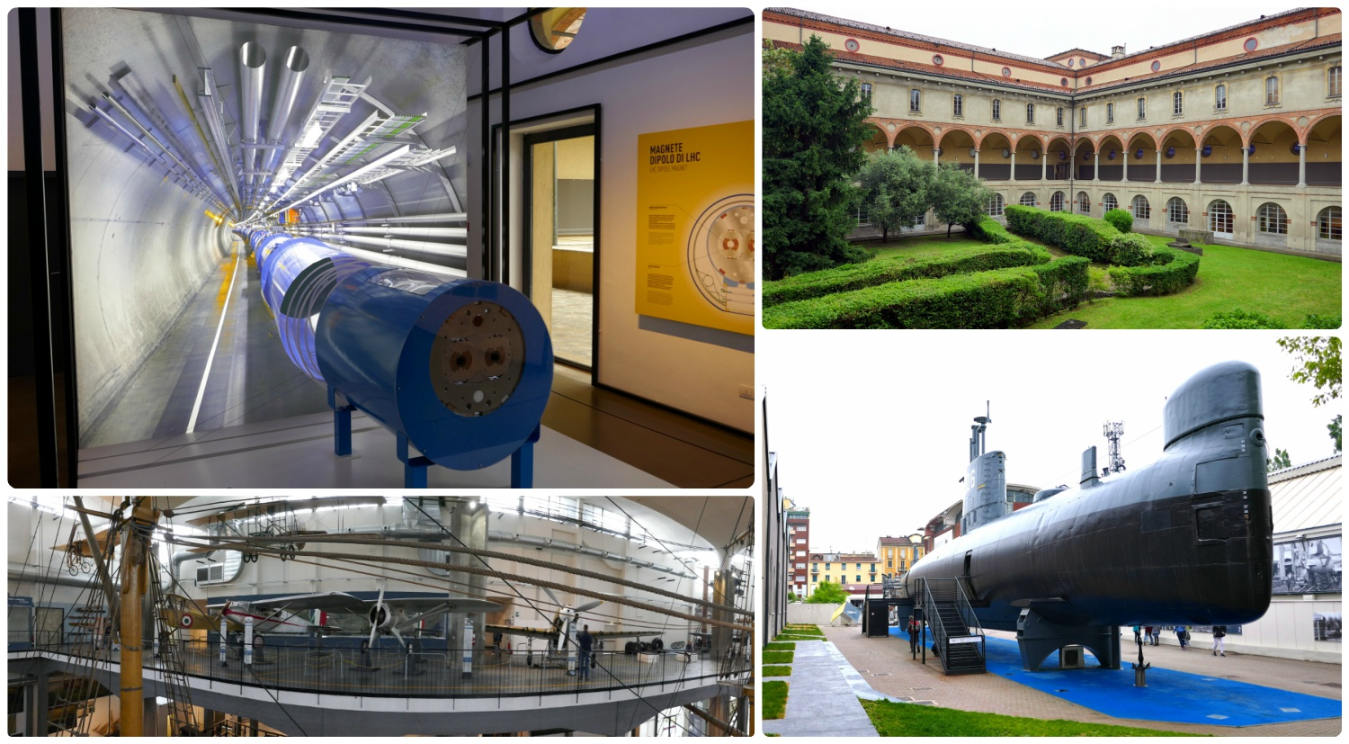 All images at Leonardo da Vinci National Museum of Science and Technology. Clockwise (from the top):  CERN particle accelerator exhibit, the center courtyard at the museum, a submarine in the transportation department of the museum, a panorama of airplanes on the second level of the transportation wing.