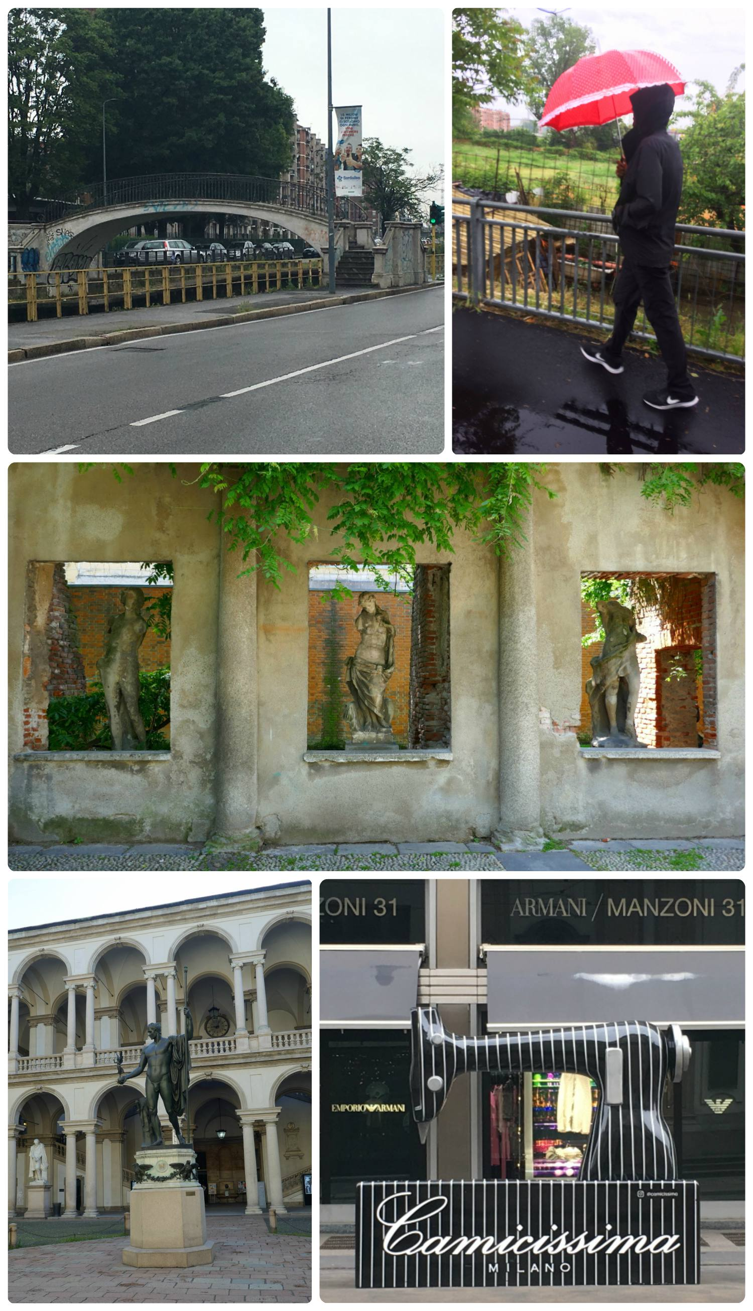 Some of the things we saw on our adventures walking around Milan. Clockwise (from the top): A bridge over one of the canals in Milan that legend says was designed in part by Leonardo da Vinci, Sergio walking in the rain with a borrowed umbrella (yes, with hearts and frills!), statues in the Casa Dei Corii Park, Camicissima sewing machine on the street, courtyard of Pinacoteca di Brera.