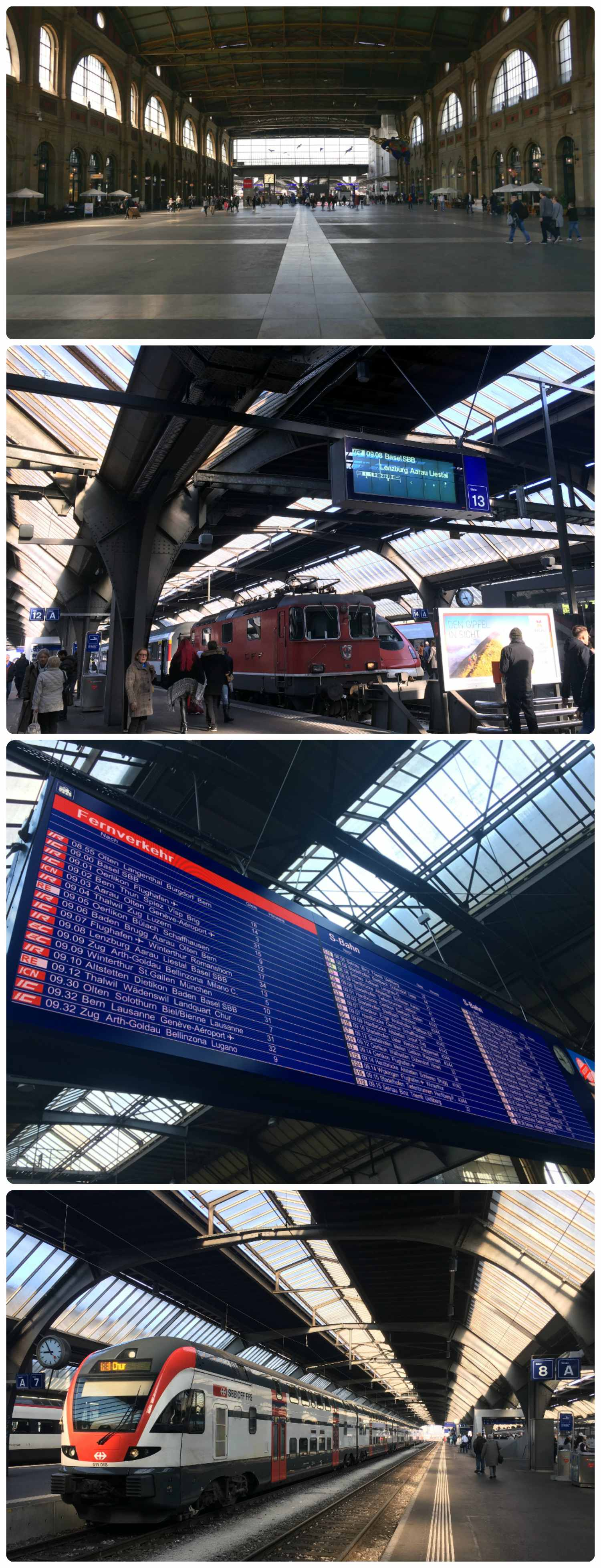 Top to bottom: Zurich train station (Zürich Hauptbahnhof), train platform in the station, digital signboard with all train and platform information, train to Chur.