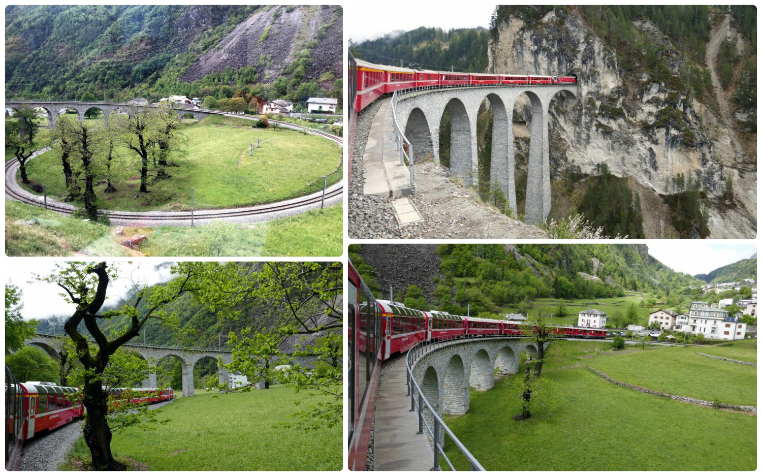 Clockwise (from the top): The full view of Brusio Circular Viaduct, crossing over the Landwasser Viaduct, going over the top of the Brusio Circular Viaduct, crossing under the Brusio Circular Viaduct