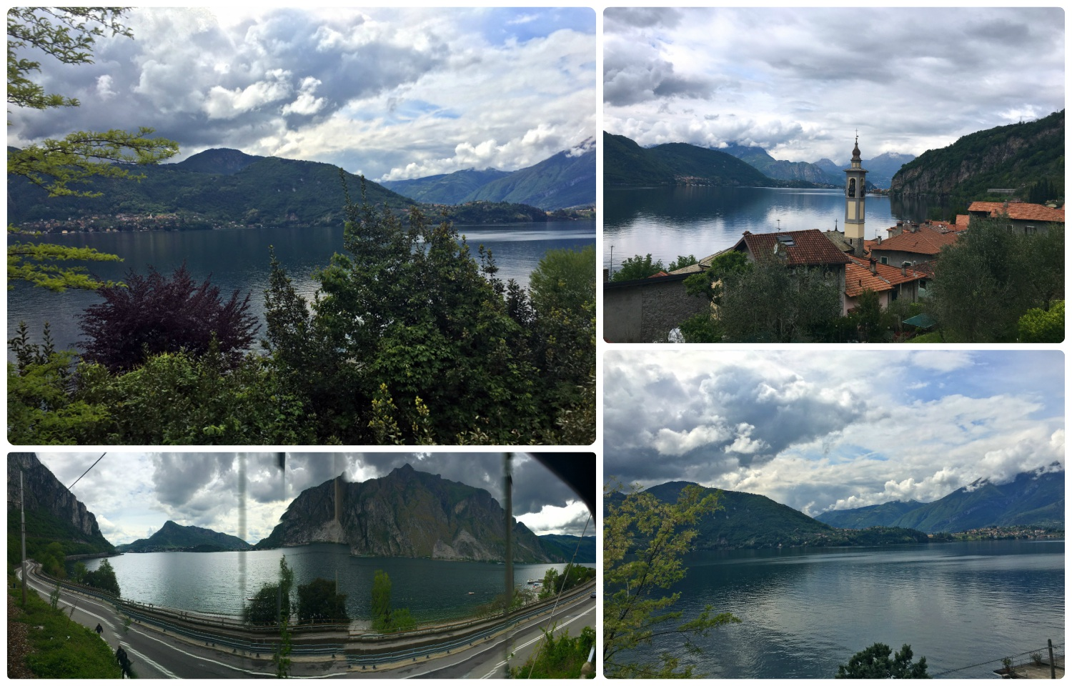The views continued on our train to Milan. The journey took us along Lake Como and it was beautiful! We tried taking a panorama while on the moving train, but although it doesn't look great, it gives a good idea of the full scenery you'll see (bottom left image).