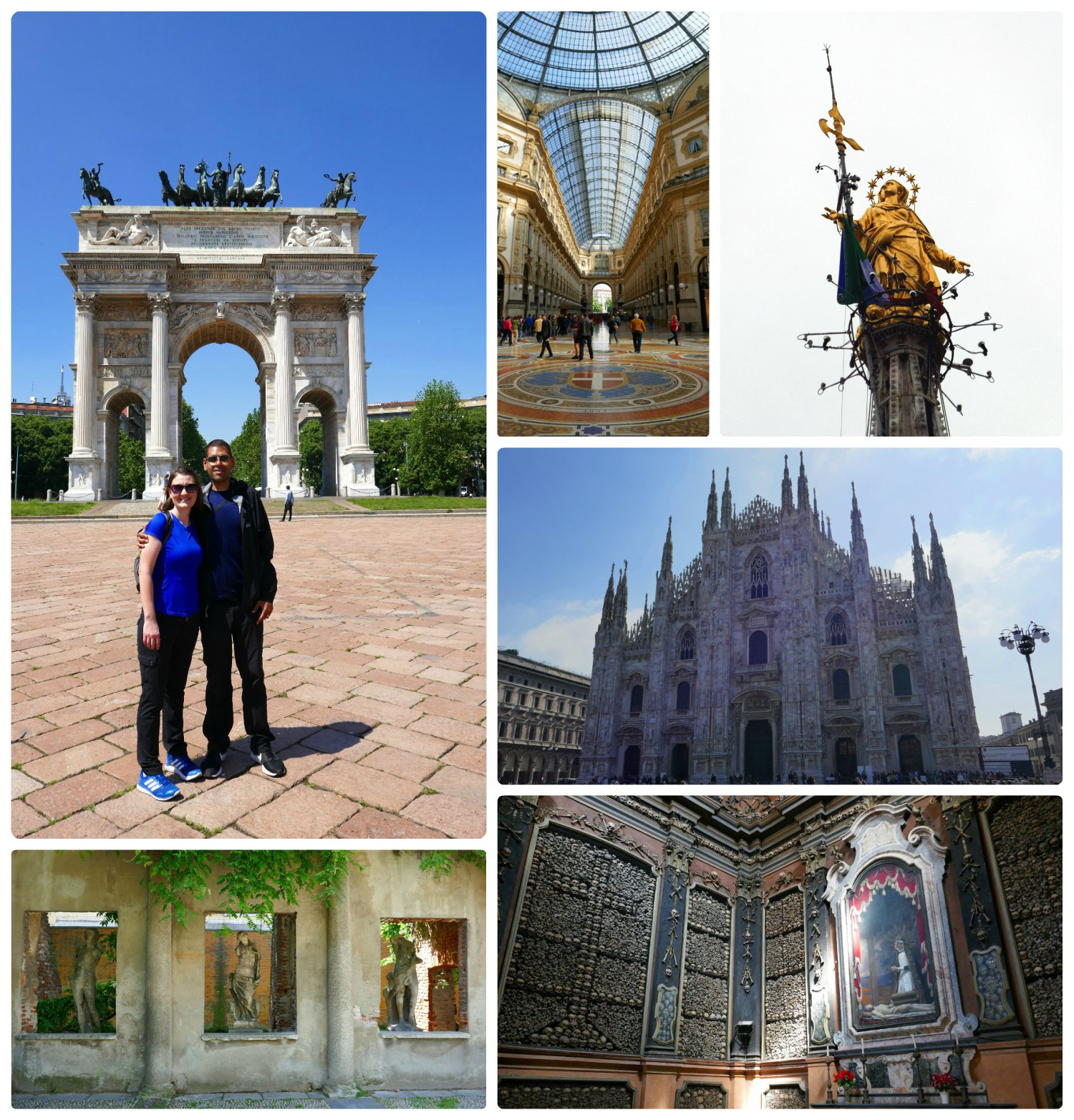 Our time in  Milan ! Clockwise (from the top): Us at Arco Della Pace, the Galleria Vittorio Emanuele II, the Little Madonna that tops the Milan Cathedral (Duomo), the Milan Cathedral (Duomo), San Bernardino alle Ossa, statues in the Casa Dei Corii Park.
