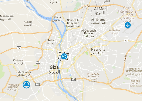 When planning where to stay, keep in mind the distance from the Giza Pyramids, to downtown, to the airport.
