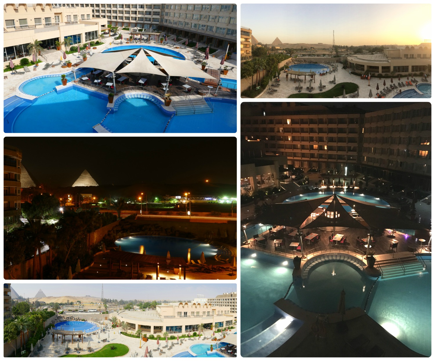 Views from the balcony in our hotel room. Clockwise (from the top): The pool and restaurant bar, the pools and pyramids at sunset, the pool area lit up at night, panoramic view with the pyramids, the pyramids were lit up only one of the nights we were there.