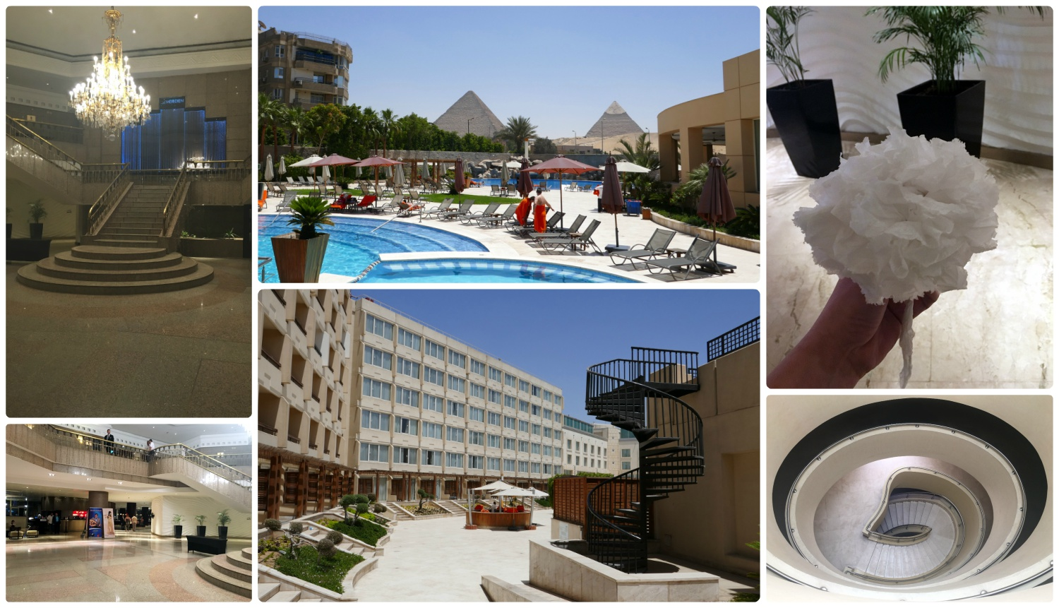 All images are of the  Le Méridien Pyramids Hotel & Spa . Clockwise (from the top): The lobby of the hotel, view of the pyramids from the pools, a flower made out of napkins - given to Shannon by a waiter, the stairwell from the fourth floor rooms down to the ground floor and the spa, the walkway to the pool area that we used to get to our room, the lobby.